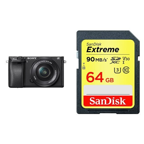 Sony Alpha a6300 Mirrorless Digital Camera with 16-50mm Lens and SanDisk Extreme 64GB SDXC UHS-I Card