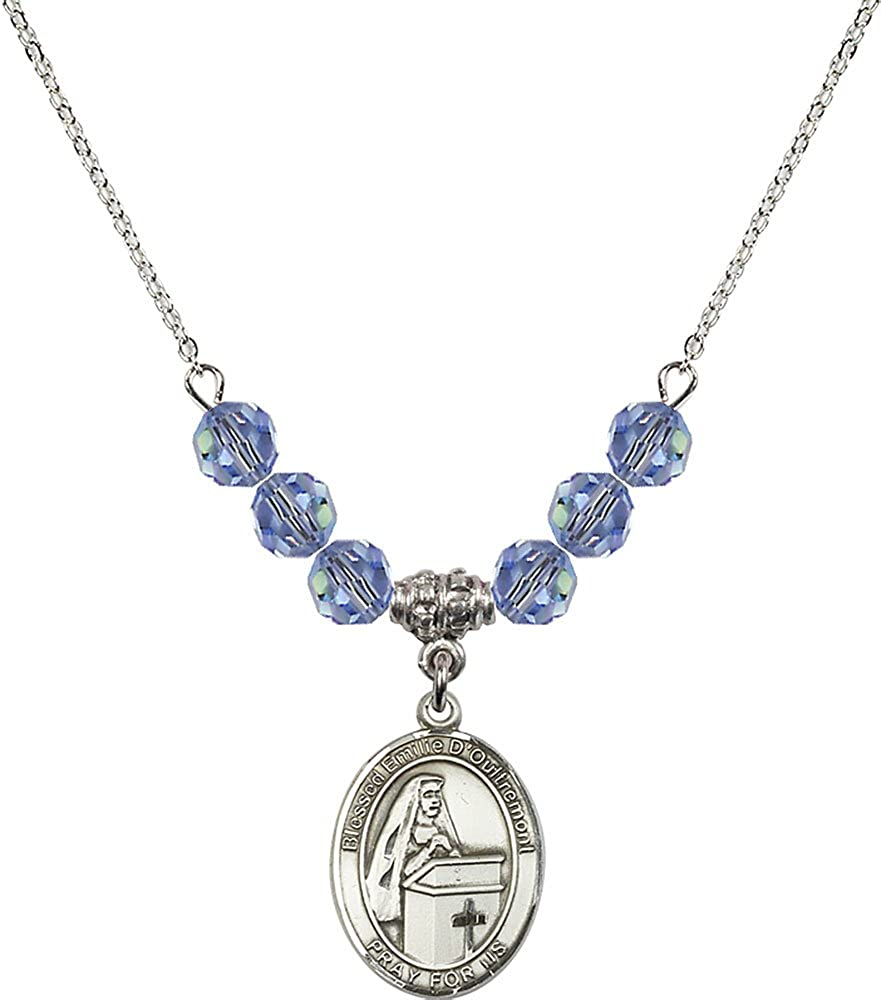 18-Inch Rhodium Plated Necklace with 6mm Light Sapphire Birthstone Beads and Sterling Silver Blessed Emilee Doultremont Charm.
