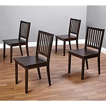 Slat Espresso Wooden Dining Chairs (Set of 4). A Good Dining Chair Compliments Your Dining Room Furniture. Four Of These Dining Room Chairs Will Enhance Your Dining Tables. Guaranteed. This Set Of 4 Dining Chairs Will Add Style To Your Dining Furniture Or
