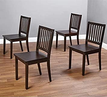 Amazon.com - Slat Espresso Wooden Dining Chairs (Set of 4). A Good ...
