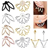 10-Pairs-Ear-Jacket-Stud-Lotus-Flower-Earrings-for-Women-and-Girls-Set-for-Sansitive-Ears-Simple-Chic-Jewelry