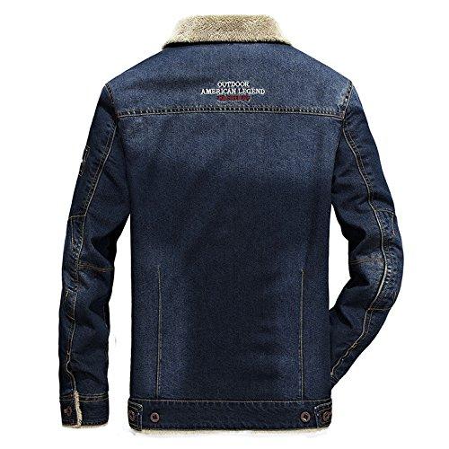 Denim Invernale 6009 Più Numero Caldo Velluto Di Xxl Un Gran Uomini Giacche Scuro Numeri Cappotto Blu Giacca Libero Grandi Tempo FU87qpn