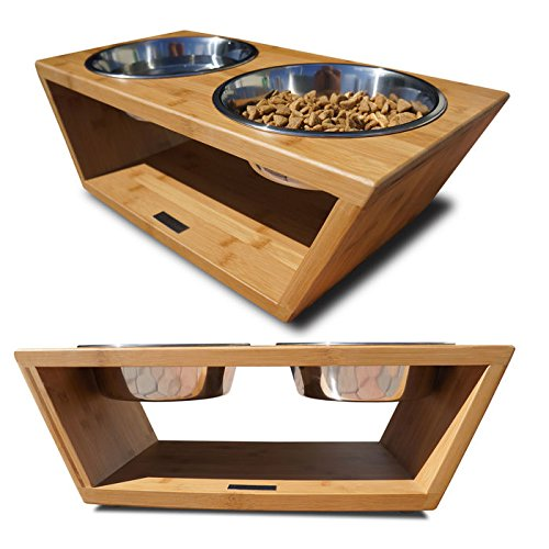 Pet Supplies : Pet Lounge Studios Bambu Angled Diner Natural Carbonized  1PINT/SMALL : Raised Pet Bowls : Amazon.com