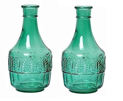 Hosley Juego de 2 botellas de cristal verde, jarrón de flor de 20,32