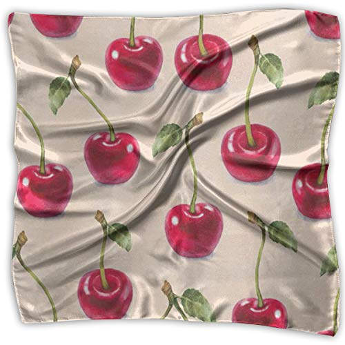 Polyester Lady's Handkerchief Scarf Women¡¯s Cherry Pattern Square Satin Headscarf S ()