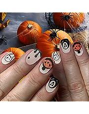 Halloween Long Medium Length Press on Nails with Designs,Pumpkins Stick on Nails for Women,Acrylic Nails Press on,Full Cover Fake Nails for Nail Art DIY Decoration,24PCS