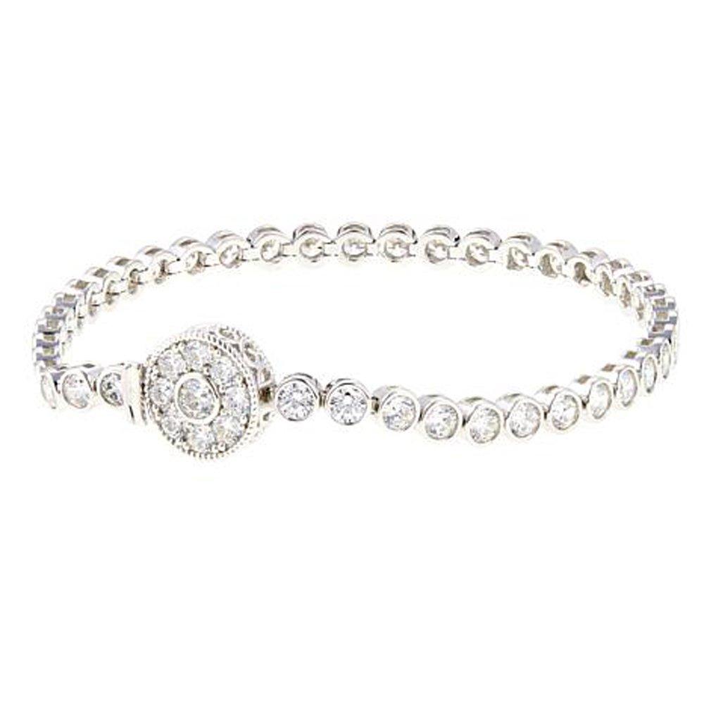 2heart 6.60 Ct Round D/VVS1 Diamond ''Silver Deco'' 14K White Gold Plated Line Bracelet