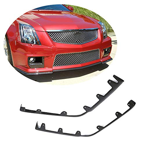 (MCARCAR KIT Front Bumper Lip Splitter fits Cadillac CTS-V Coupe Sedan 2009-2015 | Customized Carbon Fiber CF Chin Upper Spoiler Vents Cover Flaps (Front Bumper Splitter 2pcs))