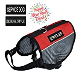 Pretty Pets Lightweight Mesh Harness Service Dog Vest with 2 Removable Service Dog Patches and 2 Emotional Support Patches - Girth:15-16 -Inch - Red