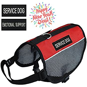 """Prettypets Lightweight Service Dog Vest Cool Red Mesh Harness with 2 Free Removable """"SERVICE DOG"""" and 2 """"EMOTIONAL SUPPORT"""" Patches (L;Girth:22-26'')"""