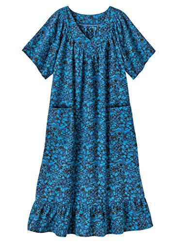 AmeriMark Casual Print Sun Dress House Dress Lounger Short Sleeves with Pockets Turquoise Delight 1X