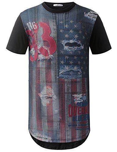 URBANCREWS Mens Hipster Hip Hop Denim Print USA Flag Longline T-shirt BLACK, XL