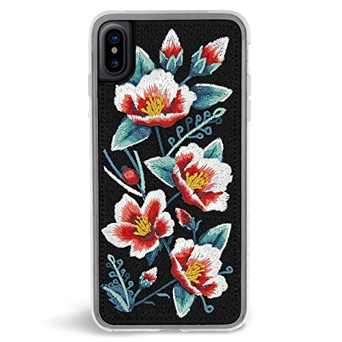 Zero Gravity Case Compatible with iPhone X/XS - Camellia - Embroidered Floral Design - 360° Protection, Drop Test Approved