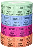 56759 Raffle Tickets - (4 Rolls of 2000 Double Tickets) 8,000 Total 50/50 Raffle Tickets (4 Assorted Colors)
