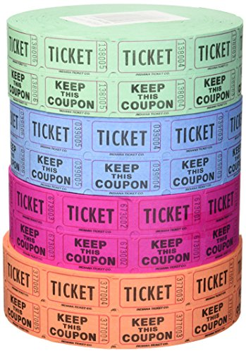 Raffle Roll Tickets - Indiana Ticket Company 56759 Raffle Tickets, (4 Rolls of 2000 Double Tickets) 8, 000 Total 50/50 Raffle Tickets, Assorted