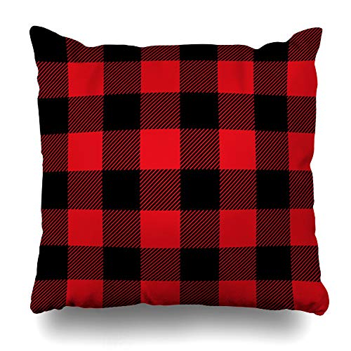 Pillow Checkered (DIYCow Throw Pillow Covers Red Flannel Lumberjack Plaid Flanel Scottish Black Checkered Woolen Design Home Decor Pillowcase Square Size 20 x 20 Inches Zippered Cushion Case)