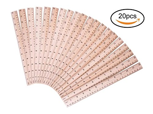 Salare 20 PCS Pack Wood Ruler for School /Office /Student Wooden Measuring Ruler,  With 2 scale (12 Inch and 30 CM)  12 Wood School Ruler