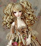 (22-24CM)1/3 BJD Doll SD Fur Wig Dollfie / 2 Colors Creamy-White + Light Brown / Long Curl Hair with 2 Ponytails / Miku Sytle