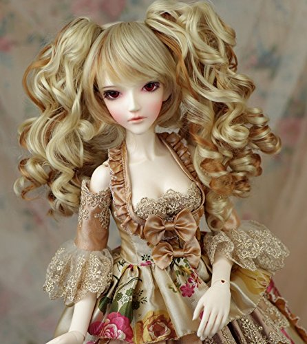 Brown Fur Wig - (22-24CM)1/3 BJD Doll SD Fur Wig Dollfie / 2 Colors Creamy-White + Light Brown / Long Curl Hair with 2 Ponytails / Miku Sytle