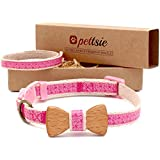 Pettsie Cat Collar Breakaway Safety with Bow Tie and Friendship Bracelet for You, Durable 100% Cotton for Extra Safety, D-Ring for Accessories, Comfortable and Soft, Adjustable Size 8-11 Inch, Pink