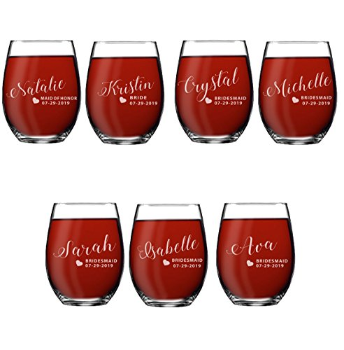 (Set of 1, 2, 3, 4, 5, 6, 7, 8 Custom Engraved Bridesmaid Gifts - Personalized Stemless Wine Glasses - Passion Style (7))