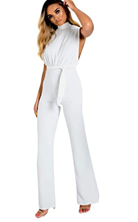 976722ee58de Ikrush Womens Erinna High Neck Jumpsuit White UK 12  Amazon.co.uk ...