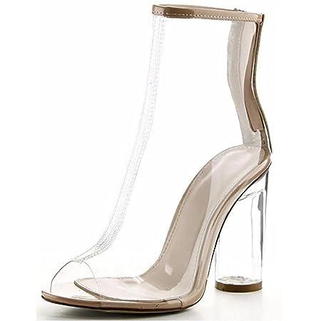 SYYAN Women Open Toe Block Chunky Clear Perspex Heel Ankle Boot Bootie Shoe