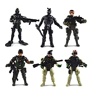 [12 Pack] Special Forces Army Combat SWAT Soldier Action Figures with Military Weapons and Accessories (4-Inches)