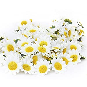 MagicW 11 100Pcs Artificial Wholesale Fake Gerbera Daisy Silk Sunflowers Sun Heads for Wedding Party Flowers Decorations Home D¨¦cor White 2