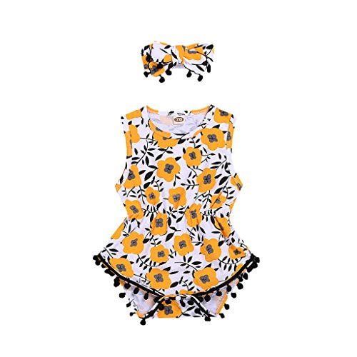 Huifa Infant Baby Summer Romper Sets Girl Sleeveless Floral Print Tassels Bodysuit with Headband (Yellow,6-12 Months/80)