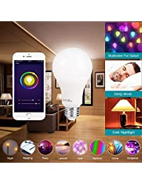 Bombilla LED inteligente A21 por 3Stone, WiFi App controlado UL listed, regulable blanco cálido y RGB colores equivalentes a 65 W, funciona perfectamente con  Alexa  Assistant IFTTT, HM0004, 10.00watts, 120.00 volts