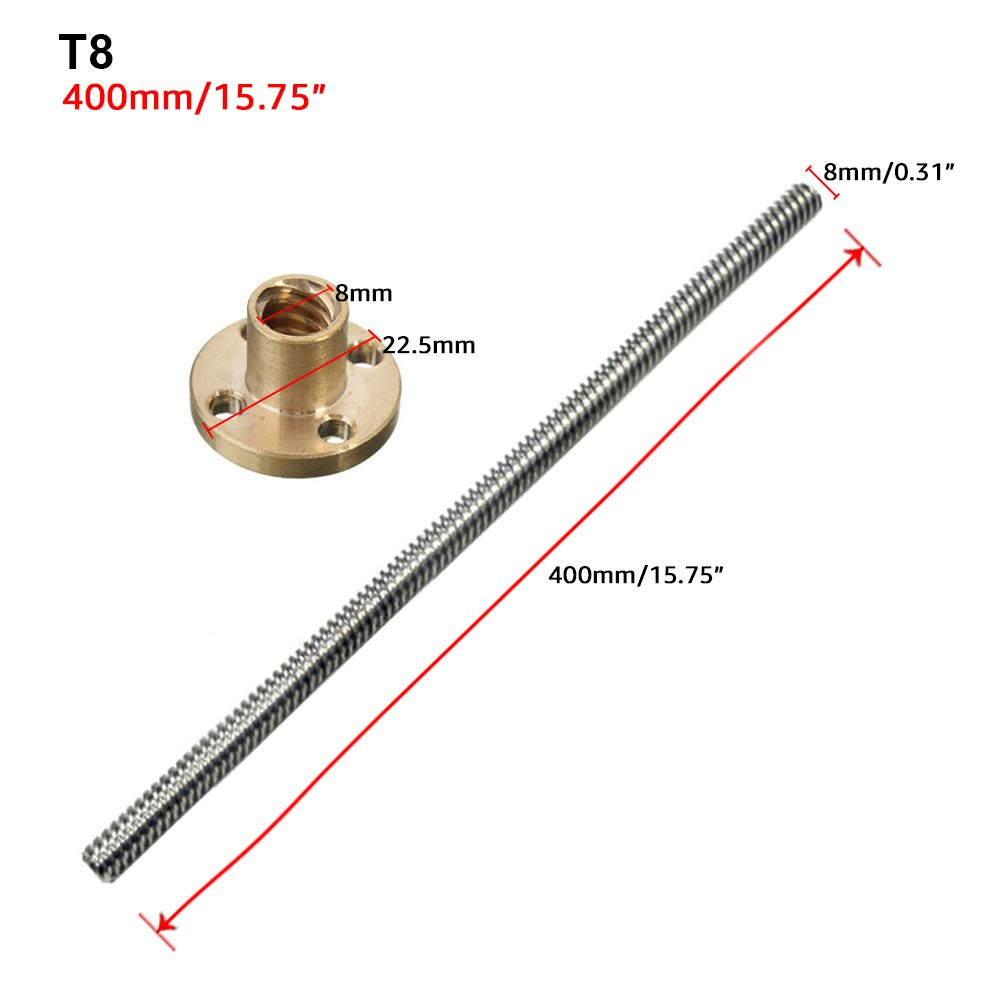 Boshen 450mm 8mm T8 Trapezoidal Lead Screw Rod with 2mm Pitch 8mm Lead Copper Nuts for 3D Printer Z-axis Drive Screw Motor and Linear Slide
