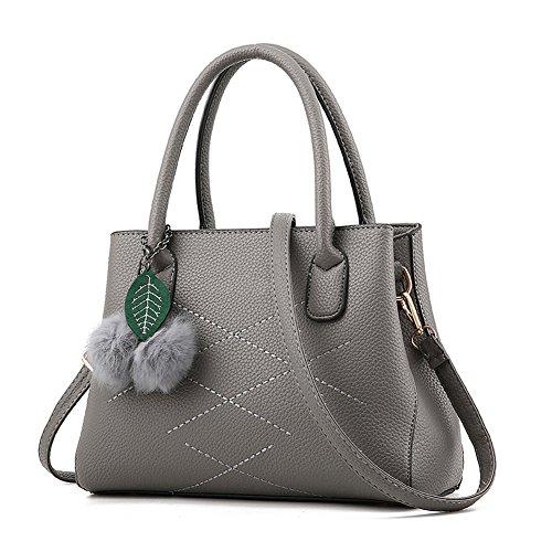 RUIREN Ladies Messenger Bag Handbag, Bolsos de Hombro Multifuncionales Portátiles para Mujeres Gris Oscuro