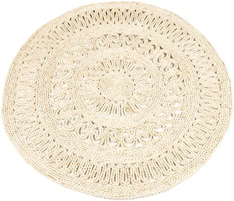 NaDeco® Strohteppich mit Muster 60 cm rundMaisstrohteppich NaturStroh Tepp