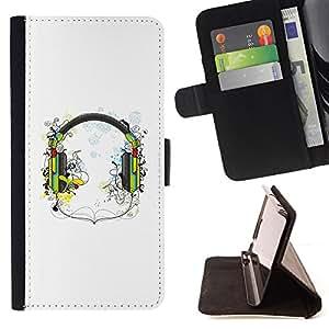 BullDog Case - FOR/Samsung Galaxy S3 III I9300 / - / Music Headphones /- Monedero de cuero de la PU Llevar cubierta de la caja con el ID Credit Card Slots Flip funda de cuer