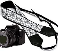 Chess camera strap. Modern DSLR / SLR Camera Strap. Black and white camera strap. Durable, light weight and well padded camera strap. code 00097