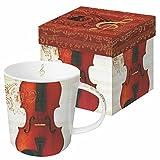 Paperproducts Design Gift Boxed Stoneware Mug, 13.5 oz, Concerto Violin, Multicolor