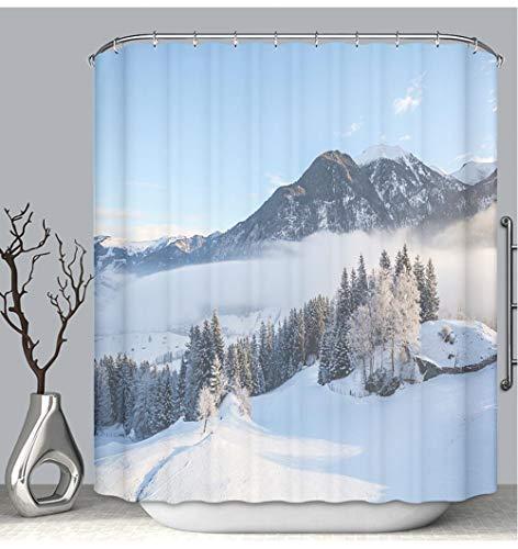 BEICICI Color Shower Curtain Liner Anti-Mildew Antibacterial Dreamy Winter Landscape in Austrian Alps Near Salzburg Austria Europe Custom Shower Curtain Bathtub Bathroom Accessories 72W×87Linch (Best Lakes Near Salzburg)