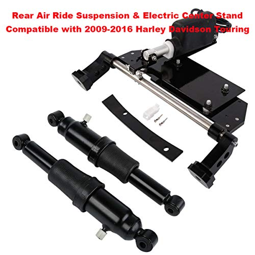 XFMT Electric Center Stand Kits + Rear Air Ride Suspension Compatible with  2009-2016 Harley Davidson Touring Road King, Road Glide, Street Glide FLHR