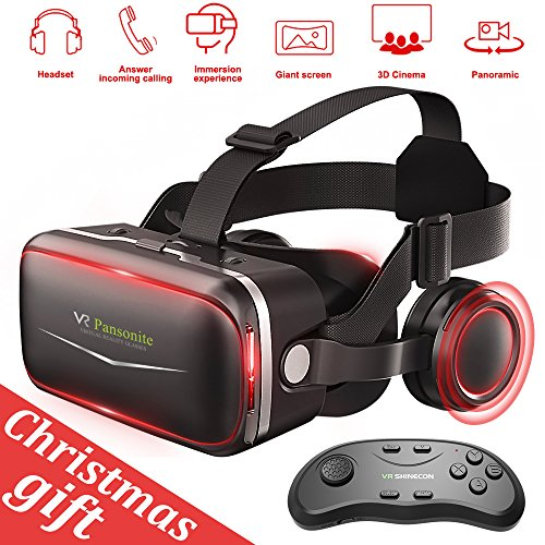 Pansonite 3D VR Glasses Virtual Reality Headset- More Comfortable and Lighter For VR Games and 3D Movie with Adjustable Focal and Pupil Distance, Fit For IOS / Android - Computer Goggles