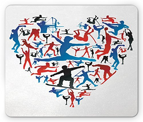 Olympics Mouse Pad Action Sports Silhouettes Heart Love Shape Archery Handball High Jump Skating, Standard Size Rectangle Non-Slip Rubber Mousepad, Red Blue (Olympics Silhouette)