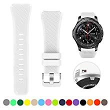 Bands Compatible with Samsung Gear S3 Frontier/Classic Watch Silicone Bracelet, Sports Silicone Band Strap Replacement Wristband Compatible with Samsung Gear S3 Frontier / S3 Classic (White)