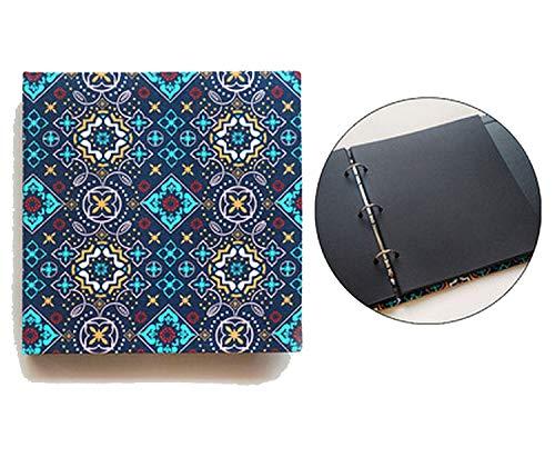 Photo Albums Creative Square Bobbin Handmade Cloth Cover Paste DIY Album 12 Inch Album Photo 30 Sheets 60P Family Photo Album,Rococo Black Inside