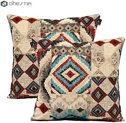 Dhestia Pack X 2 Fundas Cojines Decoración Sofá Y Cama 45X45 Cm Diseño (Etnic 136), Multicolor, 45 X 45 Cm: Amazon.es: Hogar