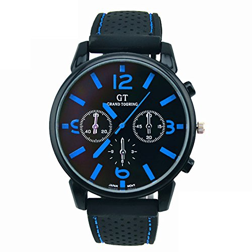 Wide Calendar Watch (Yuaboz.H 1PC Men Fashion Stainless Steel Sport Quartz Hours Wrist Analog Watch 4 Scale Show on Disc (Blue))