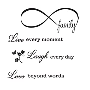 CUNYA 2 Sets Wall Decor Stickers, 20x28in Love Live Laugh Inspirational Quotes and 12x23in Family Wall Art Decals, DIY Saying Peel and Stick Wallpaper Home Decoration for Living Room, Bedroom Decor