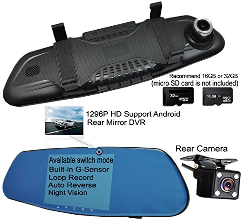 ICBEAMER 5'' Monitor 4k Ultra HD High Def 1296P Front Back Car Camera Blue Tint Interior 300mm Rearview Mirror Mini SD Slot by ICBEAMER (Image #3)