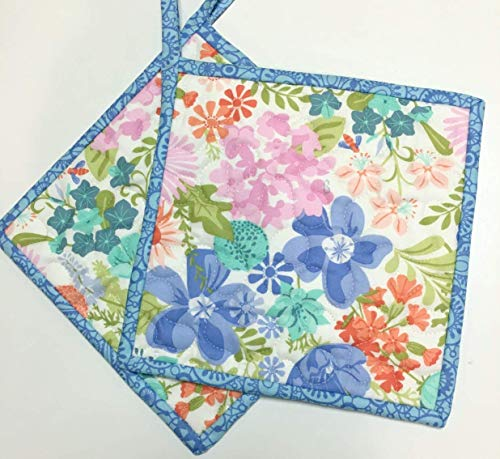 Handmade Spring Flowers Pot holders Hot Pads Quilted (Set of Two)
