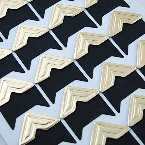 (HappyMomentsClub Gold Retro Self Adhesive Photo Corners Arrow Embossed 10pcs)