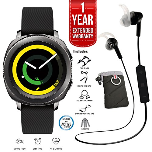 Click to buy Samsung Gear Sport Activity Tracker (Black) with Heart Rate Monitor, 7-in-1 Fitness Kit, Kodak Case, Pro Bluetooth Earbuds, and 1 Year Extended Warranty Bundle - From only $289